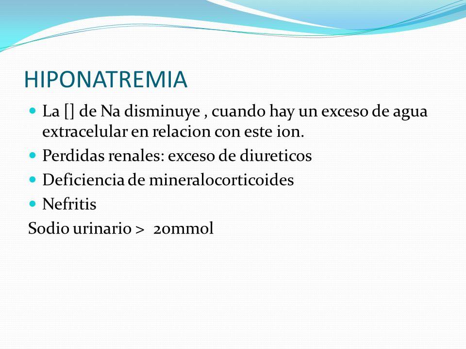 HIPONATREMIA La [] de Na disminuye , cuando hay un exceso de agua extracelular en relacion con este ion.